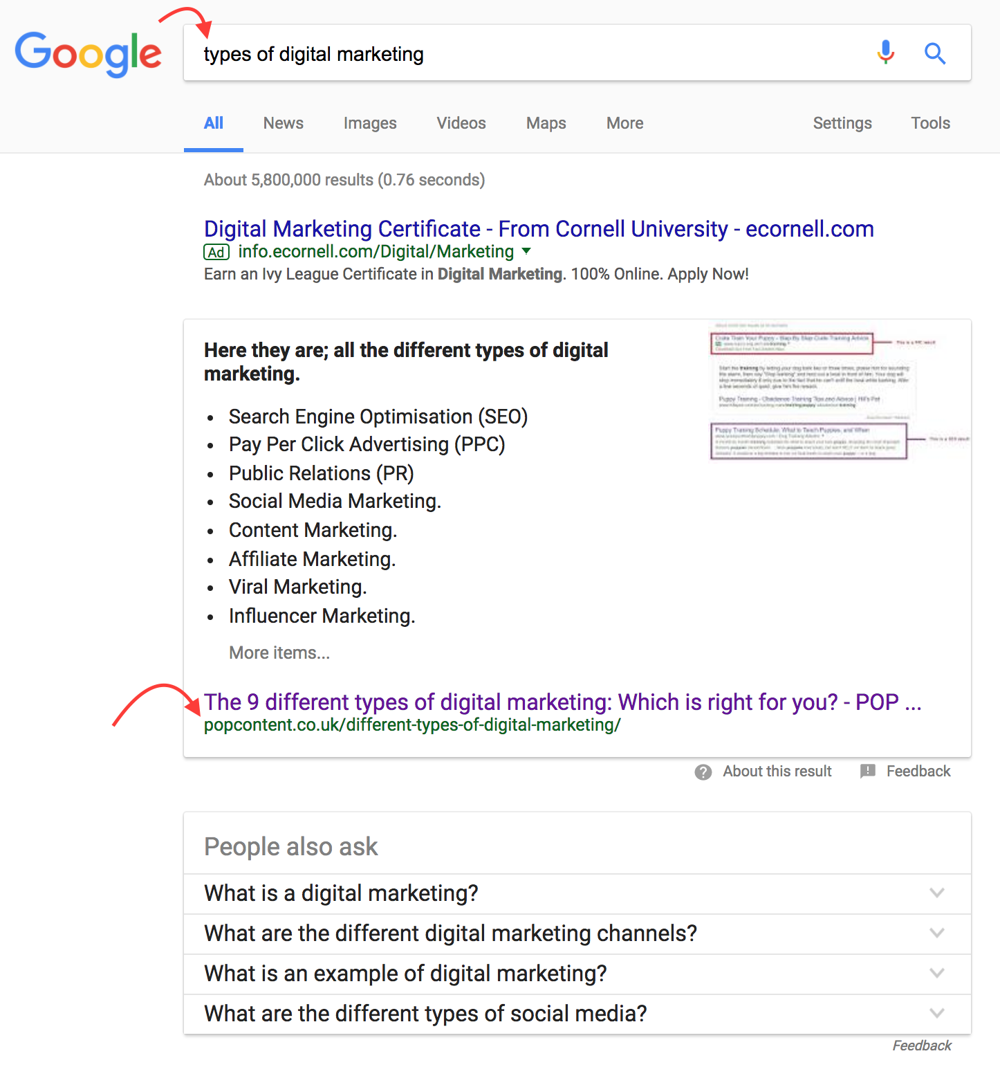 SEO tips for google search result