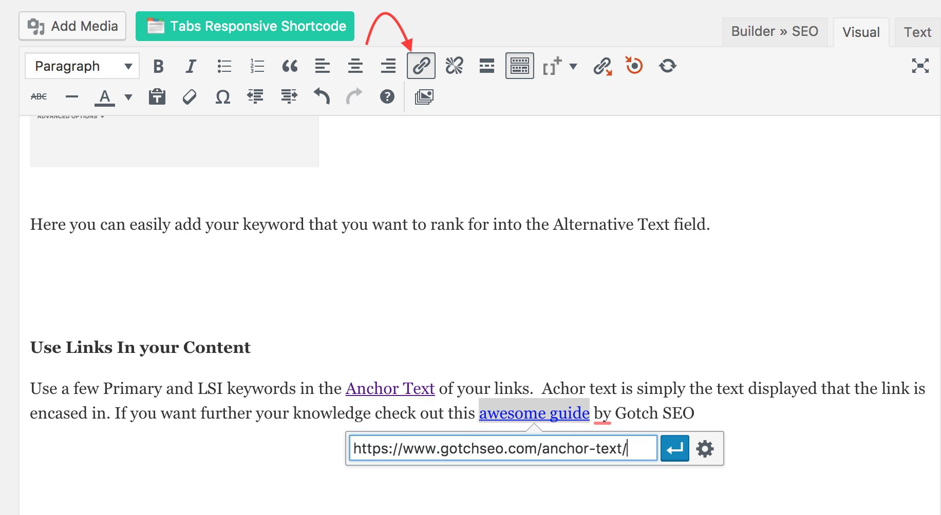 SEO content writing WordPress editor